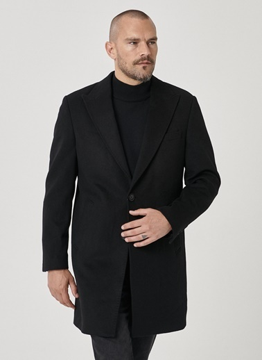 Beymen Business 4B0520100010 Standart Fit Palto Düz Siyah